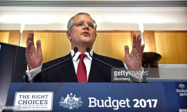 Scott Morrison Australia's treasurer speaks at a news conference inside the budget lockup at Parliament House in Canberra Australia on Tuesday May 9...