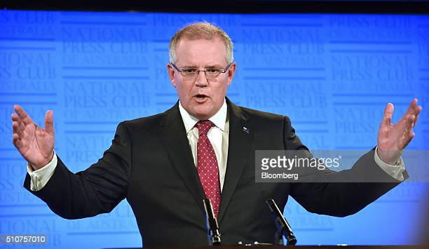 Scott Morrison Australia's treasurer speaks at the National Press Club in Canberra Australia on Wednesday Feb 17 2016 The government is approaching...