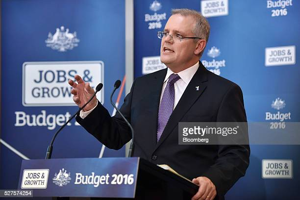 Scott Morrison Australia's treasurer speaks during a news conference inside the budget lockup at Parliament House in Canberra Australia on Tuesday...