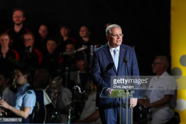 Scott Morrison making a speech during the Invictus Games Sydney 2018 Opening Ceremony at Sydney Opera House on October 20 2018 in Sydney Australia