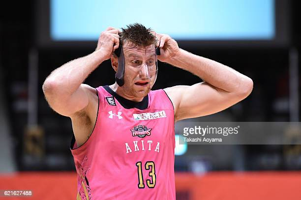 Scott Morrison of the Akita Northern Happinets looks on during the B League match between Alvark Tokyo v Akita Northern Happinets at the Yoyogi...
