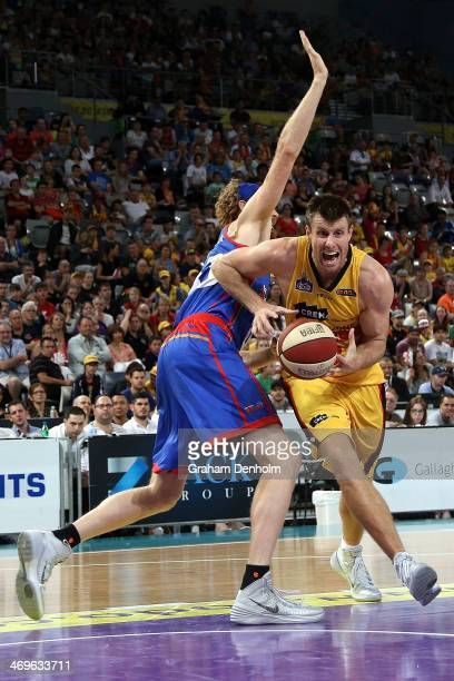 Scott Morrison of the Tigers drives at the basket during the round 18 NBL match between the Melbourne Tigers and the Adelaide 36ers at Hisense Arena...