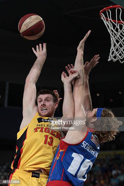 Scott Morrison of the Tigers drives to the basket during game two of the NBL Semi Final series between the Melbourne Tigers and the Adelaide 36ers at...