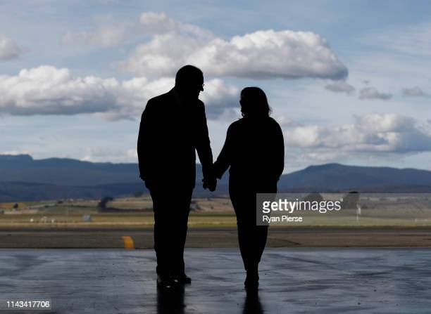 Scott Morrison Prime Minister of Australia and his wife Jenny Morriosn arrive at the Royal Flying Doctors Base at Launceston Airport on April 18 2019...