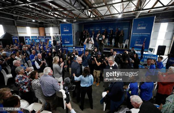 Scott Morrison Prime Minister of Australia and his wife Jenny Morrison arrive during a Liberal Party Campaign Rally at Launceston Airport on April 18...