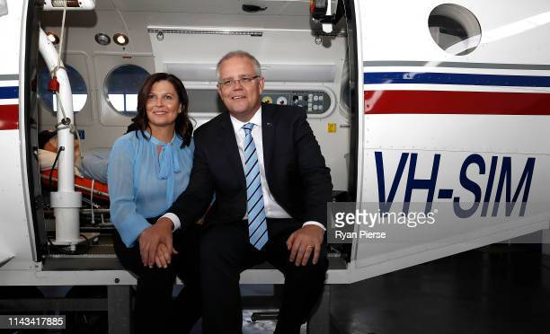 Scott Morrison Prime Minister of Australia and his wife Jenny Morriosn pose at the Royal Flying Doctors Base at Launceston Airport on April 18 2019...