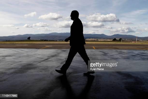 Scott Morrison Prime Minister of Australia arrives at the Royal Flying Doctors Base at Launceston Airport on April 18 2019 in Launceston Australia...