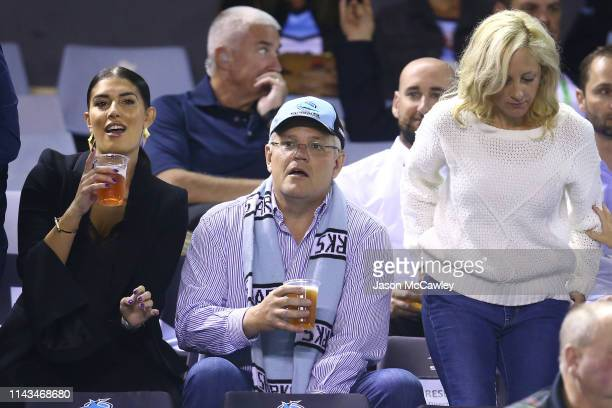 Scott Morrison Prime Minister of Australia looks on during the round 6 NRL rugby league match between the Sharks and the Panthers at PointsBet...