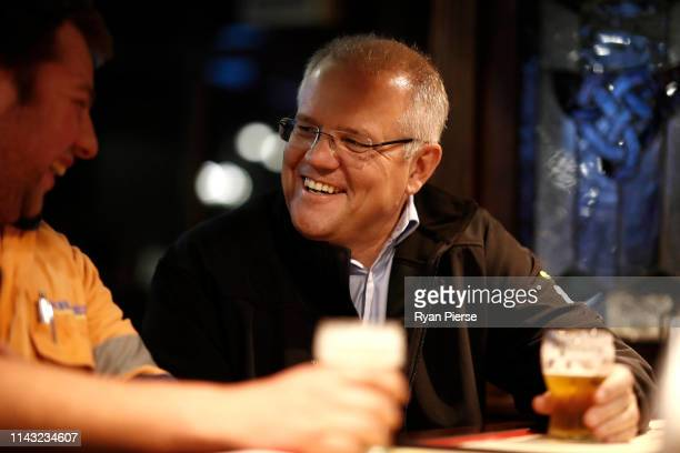 Scott Morrison Prime Minister of Australia meets locals at Molly Malone's Irish Pub on April 17 2019 in Devonport Australia The 2019 Federal Election...