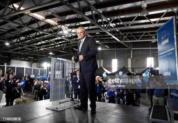 Scott Morrison Prime Minister of Australia speaks during a Liberal Party Campaign Rally at Launceston Airport on April 18 2019 in Launceston...