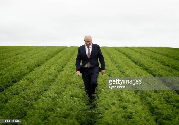 Scott Morrison Prime Minister of Australia visits Premium Fresh Vegetable Farm in Forth on April 17 2019 in Devonport Australia The 2019 Federal...