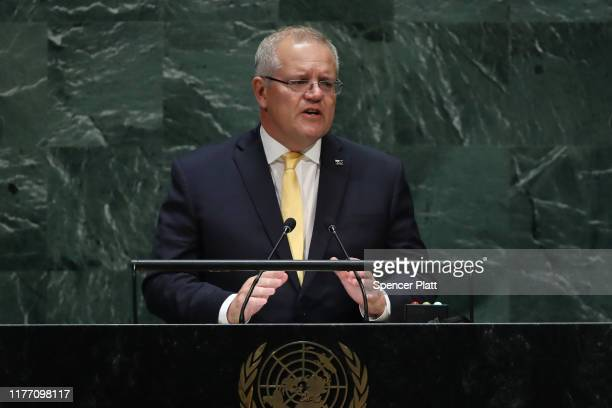 Scott Morrison the Prime Minister of Australia speaks at the 74th United Nations General Assembly on September 25 2019 in New York City The United...