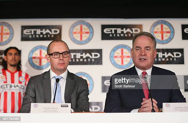 Scott Munn Melbourne City CEO and James Hogan President and CEO of Etihad Airways speak during a Melbourne City ALeague media announcement at AAMI...