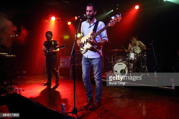 Scott Munro Matt Flegel and Mike Wallace of Viet Cong perform live on stage at Scala on August 19 2015 in London England