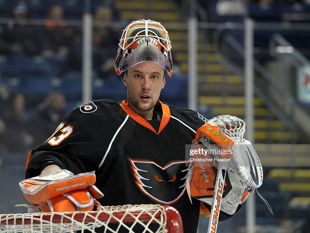 Scott Munroe #33 of the Adirondack Phantoms looks on during an American Hockey League game against the Bridgeport Sound Tigers on March 2, 2013 at the Webster Bank Arena at Harbor Yard in Bridgeport, Connecticut.