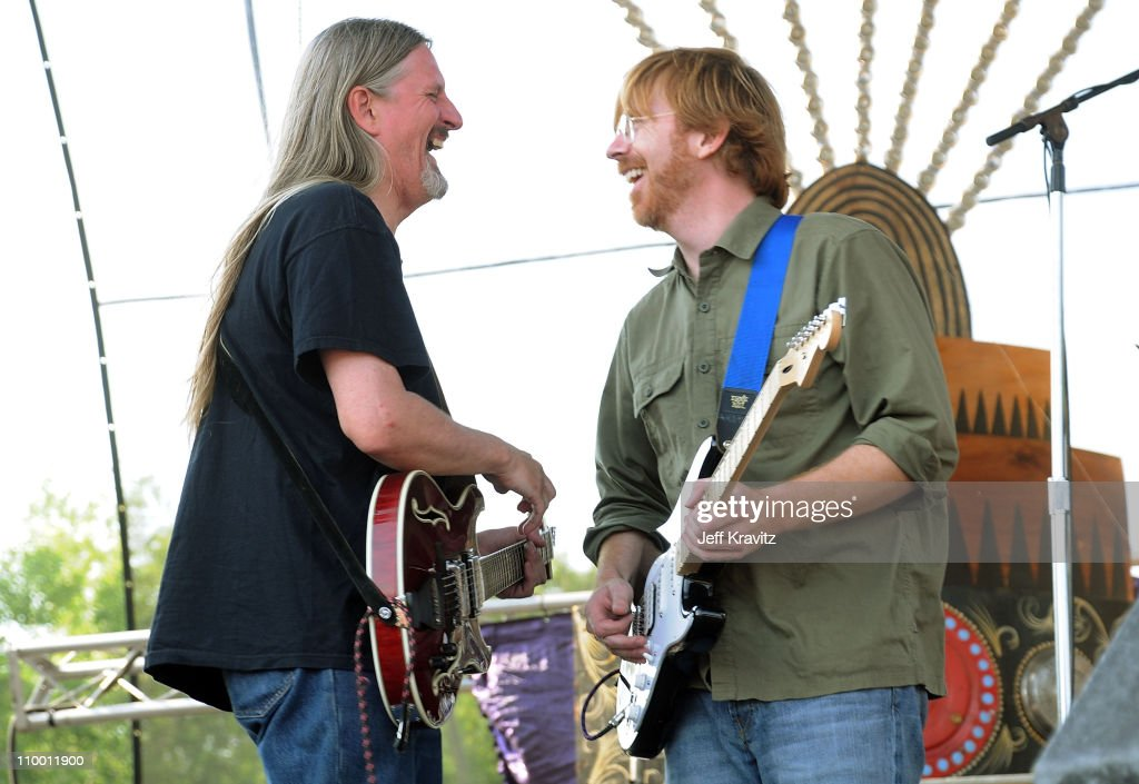 Scott Murawski and Trey Anastasio (right) perform with Mike Gordon's band on the Ranch Sherwood Court Stage during the Rothbury Music Festival 08 on July 6, 2008 in Rothbury, Michigan.
