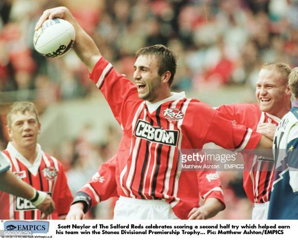 Scott Naylor of The Salford Reds celebrates scoring a second half try which helped earn his team win the Stones Divisional Premiership Trophy