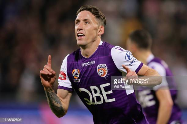 Scott Neville of the Glory celebrates after scoring a goal in extra time during the ALeague Semi Final match between the Perth Glory and Adelaide...