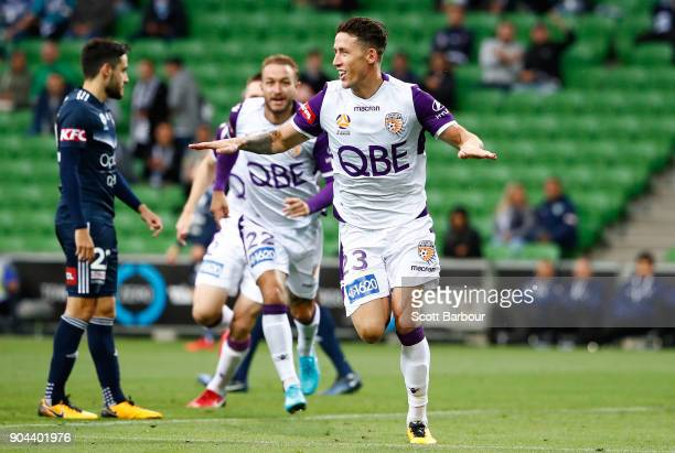 Scott Neville of the Glory celebrates after scoring the first goal during the round 16 ALeague match between the Melbourne Victory and Perth Glory at...