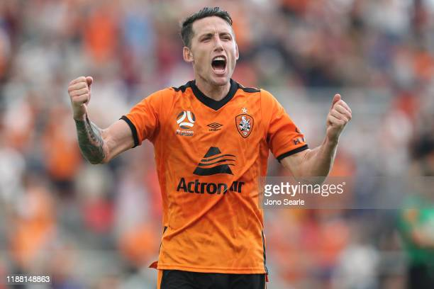 Scott Neville of the Roar celebrates the win during the round six ALeague match between Brisbane Roar and Melbourne City at Dolphin Stadium on...
