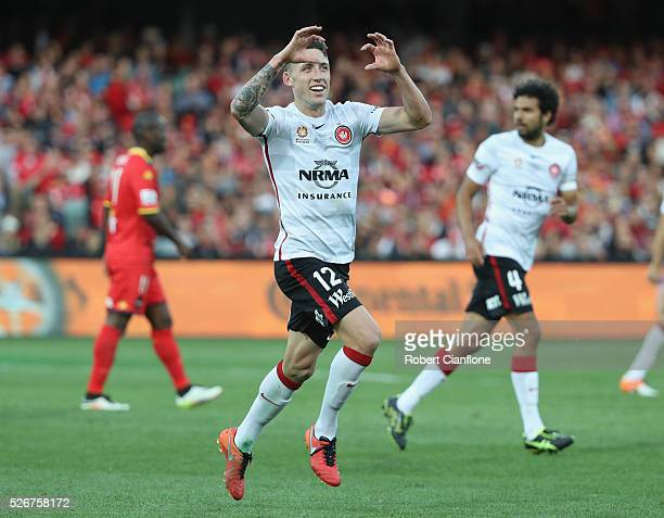 Scott Neville of the Wanderers celebrates after scoring a goal during the 2015/16 ALeague Grand Final match between Adelaide United and the Western...