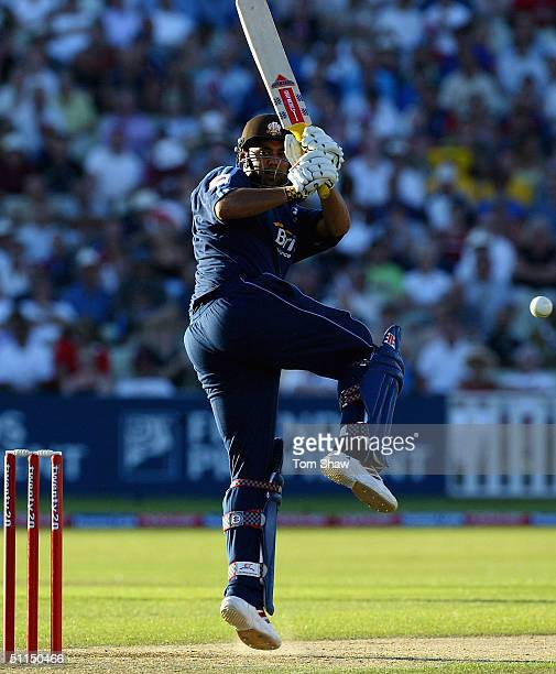 Scott Newman of Surrey hits out during the Surrey v Leicestershire Twenty20 cup Final match at Edgbaston Cricket Ground on August 7 2004 in...