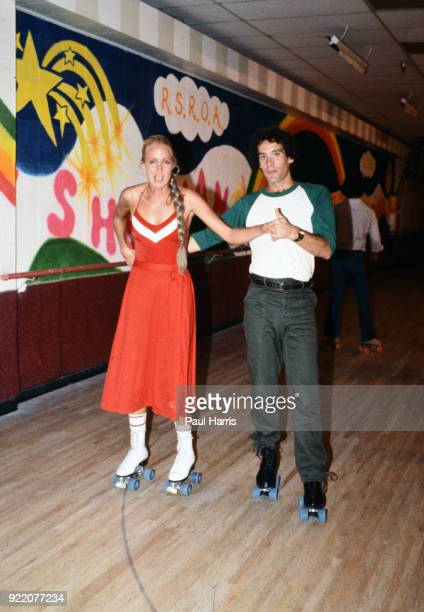 Scott Newman son of actor Paul Newman who later died of a drug overdose and Suzy Chaffee at a roller skating party November 25 1979 in Hollywood Los...