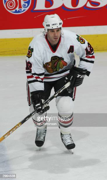 Scott Nichol of the Chicago Blackhawks skates during warm up prior to taking on the Calgary Flames at the Pengrowth Saddledome on November 22 2003 in...