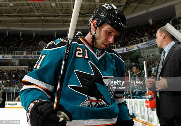 Scott Nichol of the San Jose Sharks skates off the ice against the Columbus Blue Jackets during an NHL game on November 20 2010 at HP Pavilion at San...
