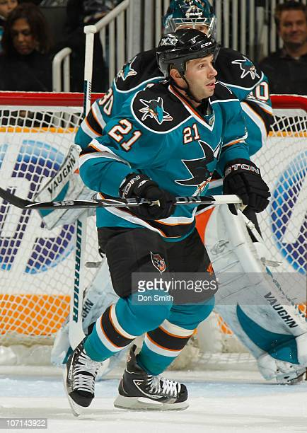 Scott Nichol of the San Jose Sharks skates up the ice against the Columbus Blue Jackets during an NHL game on November 20 2010 at HP Pavilion at San...