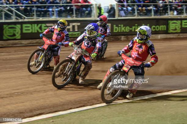 Scott Nicholls takes the inside line from Tom Brennan and Bjarne Pedersen with Charles Wright behind during the SGB Premiership Grand Final 1st Leg...