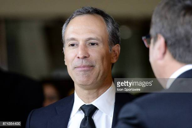 Scott Niedermayer gives an interview before the 2017 Hockey Hall of Fame induction ceremony at Brookfield Place on November 13 2016 in Toronto ON...