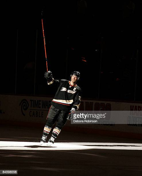 Scott Niedermayer of the Anaheim Ducks is given one of the three stars of the game against the Buffalo Sabres on February 02 2009 at Honda Center in...