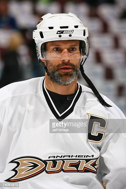 Scott Niedermayer of the Anaheim Ducks looks on against the Vancouver Canucks in Game Three of the 2007 Western Conference Semifinals at General...
