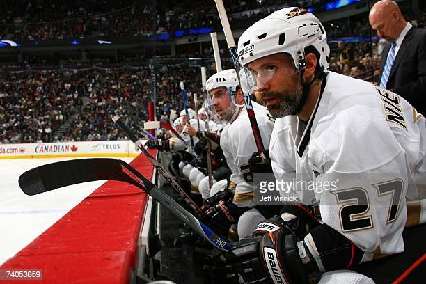 Scott Niedermayer of the Anaheim Ducks looks on from the bench against the Vancouver Canucks in Game Four of the 2007 Western Conference Semifinals...