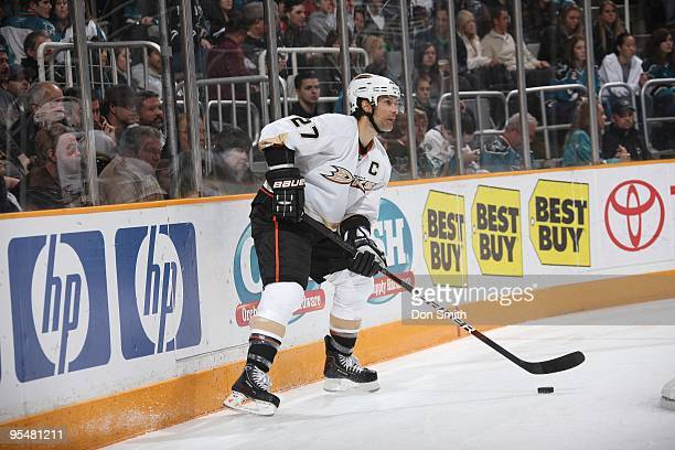 Scott Niedermayer of the Anaheim Ducks looks to make a pass during an NHL game against the San Jose Sharks on December 26, 2009 at HP Pavilion at San...