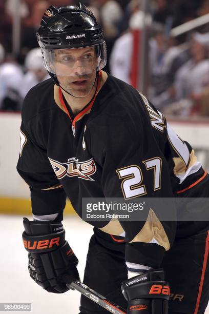 Scott Niedermayer of the Anaheim Ducks skates on the ice against the Edmonton Oilers during the game on April 11 2010 at Honda Center in Anaheim...