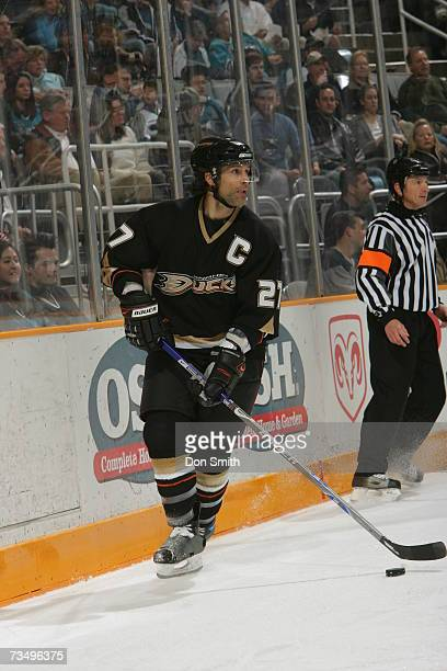 Scott Niedermayer of the Anaheim Ducks skates with the puck during a game against the San Jose Sharks on February 6, 2007 at the HP Pavilion in San...