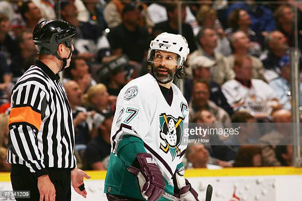 Scott Niedermayer of the Mighty Ducks of Anaheim looks on against the Edmonton Oilers in game three of the Western Conference Finals during the 2006...