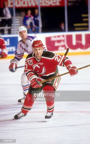 Scott Niedermayer of the New Jersey Devils skates on the ice during an NHL game against the New York Rangers on December 23 1992 at the Madison...