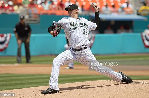 Scott Olsen of the Florida Marlins delivers the pitch during the game against the Philadelphia Phillies at Dolphin Stadium on April 8 2007 in Miami...