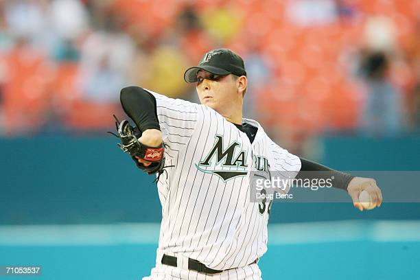 Scott Olsen of the Florida Marlins pitches against the Chicago Cubs at Dolphin Stadium on May 23, 2006 in Miami, Florida. The Marlins defeated the...