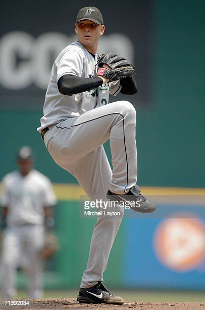 Scott Olsen of the Florida Marlins pitches during a baseball game against the Washington Nationals on July 4 2006 at RFK Stadium in Washington DC The...