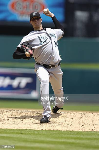 Scott Olsen of the Florida Marlins pitches during the game against the Kansas City Royals at Kauffman Stadium in Kansas City, Missouri on June 17,...