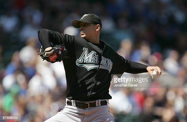Scott Olsen of the Florida Marlins winds back to the pitch during the game against the Chicago Cubs on April 26 2006 at Wrigley Field in Chicago...