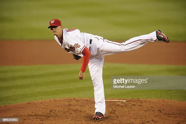 Scott Olsen of the Washington Nationals pitches during a baseball game against the Colorado Rockies on April 20, 2010 at Nationals Park in...