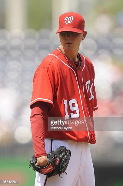 Scott Olsen of the Washington Nationals pitches during a baseball game against the Los Angeles Dodgers on April 25 2010 at Nationals Park in...