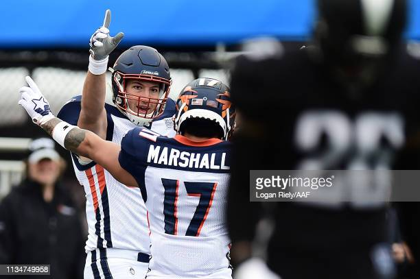 Scott Orndoff of Orlando Apollos celebrates after scoring against the Birmingham Iron in their Alliance of American Football game at Legion Field on...
