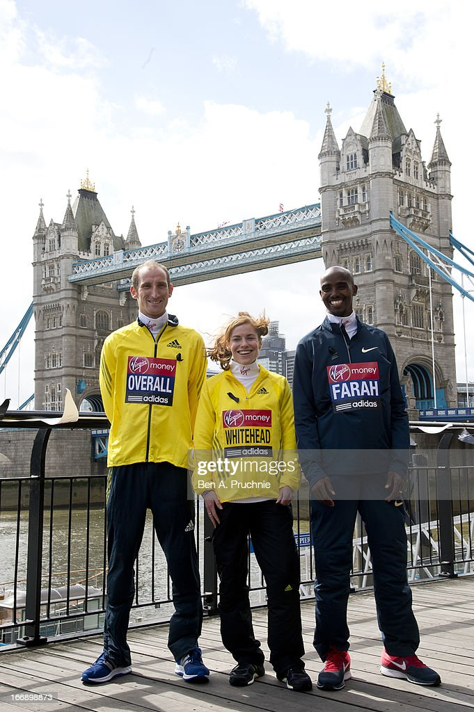 Scott Overall, Amy Whitehead and Mo Farah attends the British atheletes photocall for the British athletes ahead of The the London Marathon at The Tower Hotel on April 18, 2013 in London, England.