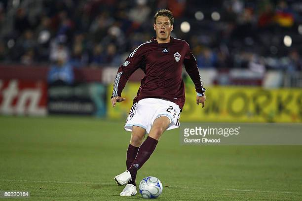 Scott Palguta of the Colorado Rapids controls the ball during the game against the Los Angeles Galaxy on April 25, 2009 at Dicks Sporting Goods Park...